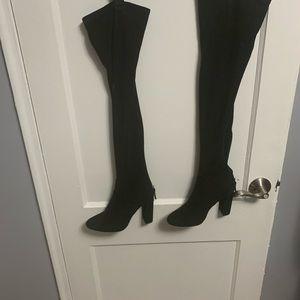 Black suede high heel boots 🎈🦋🌺